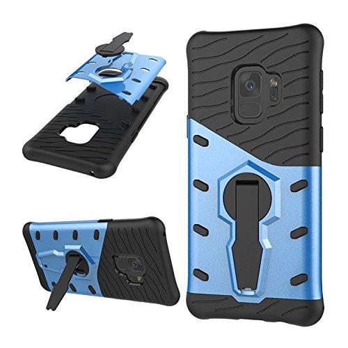 Caja trasera a prueba de golpes de Rolling Kickstand de 360 grados para Samsung Galaxy S9 ( Color : Black ) Blue