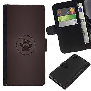 KLONGSHOP // Tirón de la caja Cartera de cuero con ranuras para tarjetas - Huella - Sony Xperia Z2 D6502 //