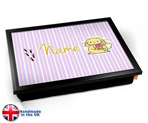 (KICO Bunny Personalised Childrens Name Cushion Lap Tray - Black Frame)