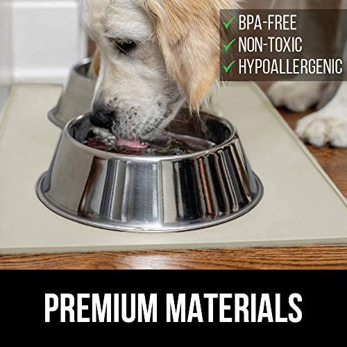 517J5BiOvPL. AC - Gorilla Grip Original Silicone Pet Feeding Mat, BPA Free, Easy Clean, Dishwasher Safe, Waterproof, Raised Edges, Pets Placemat Tray Mats To Stop Dog And Food Spills And Water Bowl Messes On Floor