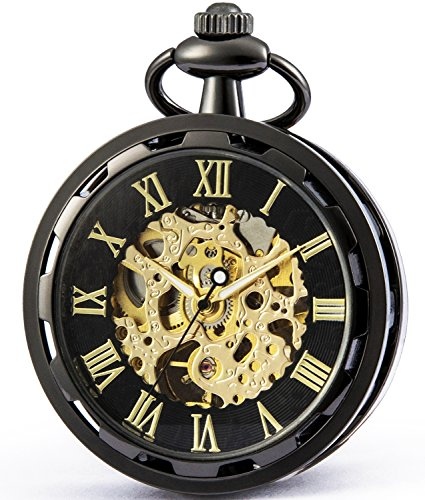 SEWOR Retro Single Face Carving Pocket Watch Mechanical Hand Wind (Black-Gold)