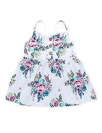 OcEaN Baby Girls Dress Toddler Kids Straps Print Floral Casual Princess Sundress