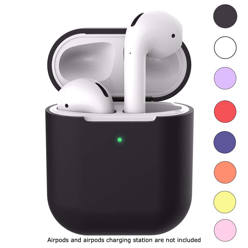 TunaLee AirPods 2 ワイヤレスシリコンケースカバー - 2019 Apple AirPods 1 & 2と互換性あり; フロントLED可 - ワイヤレス充電ケース対応 - AirPods用追加保護 AP-001   B07QZ29QSP