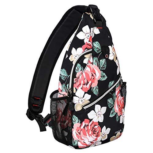 MOSISO Sling Backpack, Multipurpose Crossbody Shoulder Bag Travel Hiking Daypack, Black Base Rose