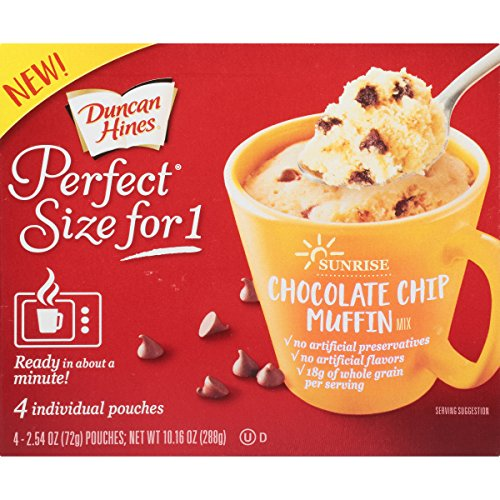 Perfect Chocolate Cake - Duncan Hines Perfect Size for 1 Breakfast Muffin and Cake Mix, Chocolate Chip Muffin, 4 individual pouches