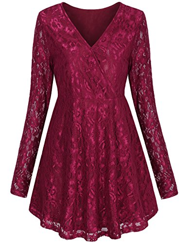 Plus Size Outfit (Ladies Tunics Tops,LNIMIKIY Female Novely Chic Stylish Tops V Neckline Empire Waist Dressy Tunics Plus Size Dress,Red 2XL)