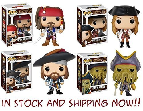 Pop! Disney: Pirates of the Caribbean Captain Jack Sparrow, Barbossa, Elizabeth Swann and Davy Jones! Vinyl Figures Set of 4