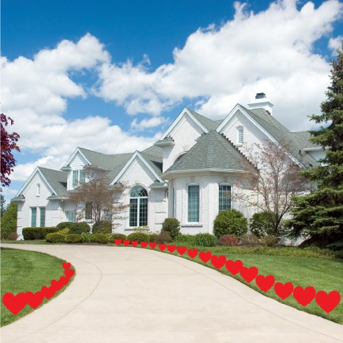 VictoryStore Yard Sign Outdoor Lawn Decorations: Red Hearts Valentine's Day Pathway Markers - Set of 24 short stakes -