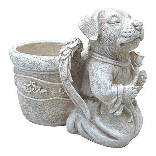 - Comfy Hour Resin Dog Angel Holding Tulip Pet Statue Flower Pot, Handmade Beige, Memory of Dog's Bereavement