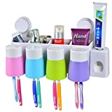 YIUHART Wall-Suction Creative Bathroom Storage Toothbrush Holder Wall Mounted (Wall-Suction toothbrush holder with toothpaste squeeze and 4 cups)