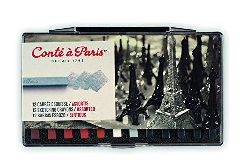 Crayons Conte Drawing (Conté à Paris Sketching Crayons Set with 12 Assorted Colors)