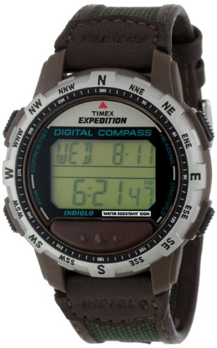 (Timex Men's T77862 Expedition Digital Compass Leather and Nylon Strap Watch)