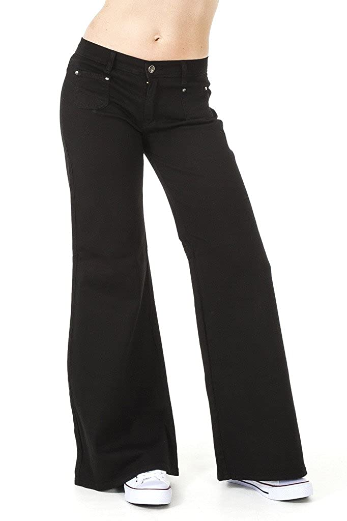Run & Fly Womens 60S 70S Black Stretch Wide Bell Bottoms Flares Hippie Vintage Indie Retro
