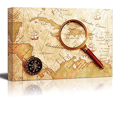 an Old Brass Compass on a Treasure Map with Magnifier Vintage Retro Style Travel Voyage Exploration Map - Canvas Art Wall Art - 32