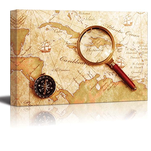 An Old Brass Compass on a Treasure Map with Magnifier Vintage Retro Style Travel Voyage Exploration Map Wall Decor