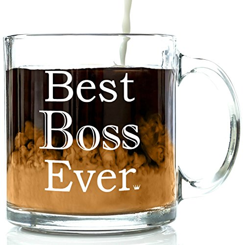 best boss ever glass coffee mug 13 oz unique birthday gift for men women him or her best office cup christmas present idea for male or female