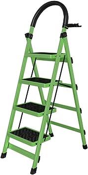 M-Y-S Escalera plegable de 4 peldaños, taburete de aluminio de 4 peldaños con pedal ancho antideslizante Cómoda escalera de mano con empuñadura Capacidad de 330 lb, herramienta colocable de nivel supe: Amazon.es: