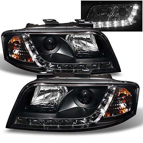 For Audi A6 C5 Sport Sedan Black Bezel DRL Daytime LED Strip Projector Headlights Lamps Left + Right