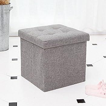 Elegant Epeanhome Ottoman With Storage,Storage Ottoman Linen Folding Stool,Storage  Cube Basket Bins Organizer