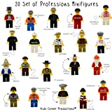 Kids Corner Productions - 20 Mini Figures Set of Professions - Policeman, Fireman, Race Driver, Chef & More (Pack of 20) …