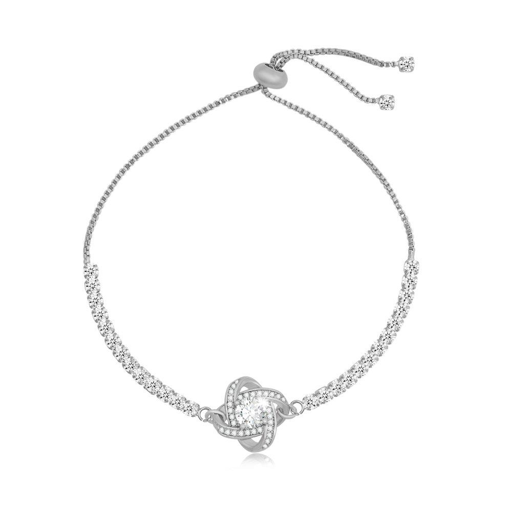SENFAI infinity Love Knot Crystal CZ Expandable Bangle Bracelet 1 for All Wrist 3 Tone 6 to 9'' (Silver)
