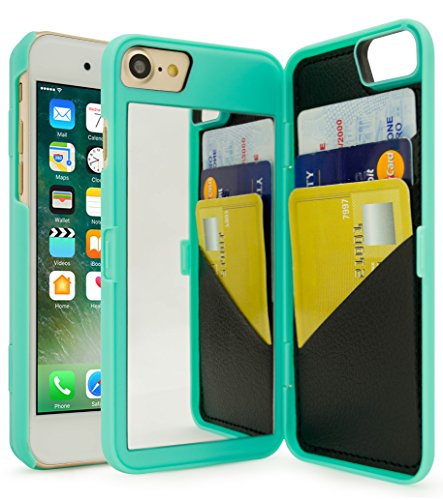 iPhone 7 Case, Bastex Teal Hidden Back Mirror Wallet Case with Stand Feature and Card Holder for Apple iPhone 7