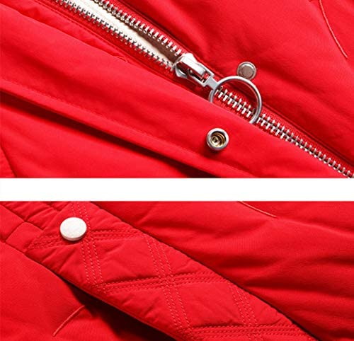 ZEIYUQI Down Coat Women Casual Jacket Windproof Zipper Pockets Cotton,Black,XXL