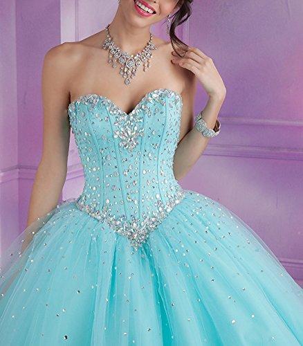 Bridal _ Mall–Vestido con corpiño, diseño de corazones  azul agua 46