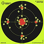 Splatterburst Targets - 12 inch Multi-Bullseye Reactive Shooting Target - Shots Burst Bright Fluorescent Yello