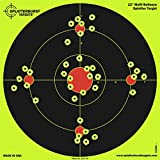 Splatterburst Targets - 12 inch Multi-Bullseye Reactive Shooting Target - Shots Burst Bright Fluorescent Yellow Upon Impact - Gun - Rifle - Pistol - Airsoft - BB Gun - Pellet Gun - Air Rifle