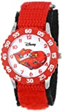 Disney Kids' W001003 ''Time Teacher'' Cars Lightning McQueen Stainless Steel Watch with Red Nylon Strap