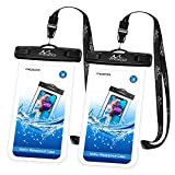 MoKo Waterproof Phone Pouch [2 Pack], Underwater Phone Case Dry Bag with Lanyard Compatible with iPhone X/Xs/Xr/Xs Max, 8/7/6s Plus, Samsung Galaxy S9/S8 Plus, S7 Edge, Note 9/8, Huawei, Black Black