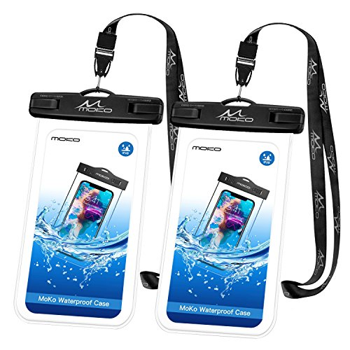 (MoKo Waterproof Phone Pouch [2 Pack], Underwater Phone Case Dry Bag with Lanyard Compatible with iPhone X/Xs/Xr/Xs Max, 8/7/6s Plus, Samsung Galaxy S9/S8 Plus, S7 Edge, Note 9/8, Huawei, Black Black)