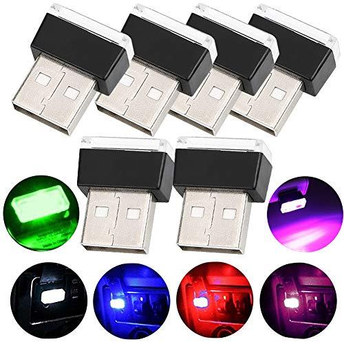 - Car USB Atmosphere Light - WENTS 6PCS Car USB Lighting Universal Mini USB LED Wireless Car Interior Lighting Neon Lights for Car (6 colour)