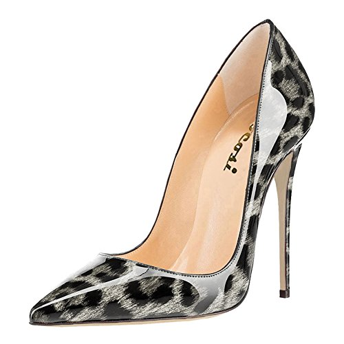 VOCOSI Women's High Heels,Pointed Toe Patent Pumps Shoes for Ladies Party Dress 4.7 inches Grey Leopard 6.5 US