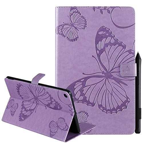 """Galaxy Tab A 10.1 Case 2019, SM-T510 Case, USTY Slim Folio Stand Butterfly Premium PU Leather Case with Card Holder Protective Cover for Samsung Tab A 10.1"""" Tablet 2019 (SM-T510/T515), Purple"""