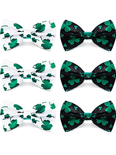 (Zhanmai 6 Pieces Shamrock Bow-ties Adjustable Pre-Tied Bow Tie Unisex Green Clover Bow Tie for St. Patrick's Day Accessories, 2 Styles)