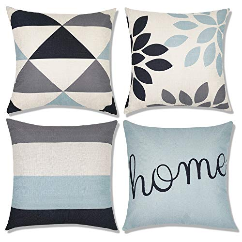 Decorsurface decorative throw pillow covers 18x18, sofa, couch pillow covers, set of 4, faux linen square pillow covers for cushion, fall pillow covers (Pillows Sofa Set)