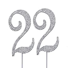 "MAGJUCHE Silver 22"" Crystal Cake Topper, Number 22 Rhinestones 22nd Birthday Cake Topper, Boy or Girl Birthday or 22nd Anniversary Party Decoration Supply"