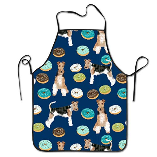 Dsiempwe Water Resistant Kitchen Apron Long Ties for Dinner Wedding Boys - Liquid Drop Resistant, Machine Washable Comfortable and Easy Care Aprons - Wire Fox Terrier