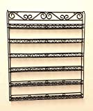 (Quantity: 3 Pieces) Pana Professional Quality Black Sturdy Unbreakable Wall-Mounted Metal 6 Tier Wire Frame Nail Polish Rack Display Organizer Shelf (Fits up to 126 Bottles)