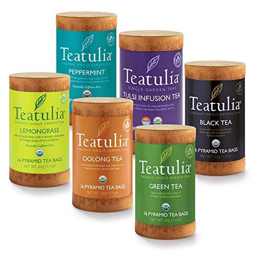 Teatulia Organic Premium Tea Variety Gift Set - 6 Tea Sampler - 96 tea bags
