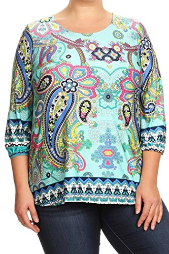 Women's Plus Size Mixed Tapestry, Floral Printed Top MADE N USA (3X, Mint /Paisley Print) - Floral Tapestry Top