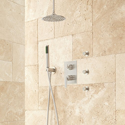 Naiture Brass 12″ Rainfall Shower System With Hand Shower And 3 Body Sprays In Brushed Nickel Finish