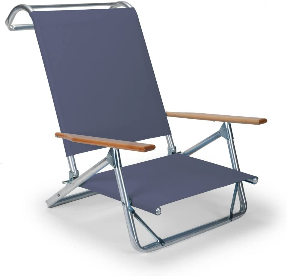Telescope Casual Original Mini-Sun Chaise Folding Beach Arm Chair, Navy