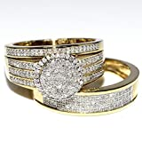 Rings-MidwestJewellery His & Her 10k Yellow Gold Halo Style Wedding Ring (2/3cttw, I2/i3 Clarity, I/j Color)