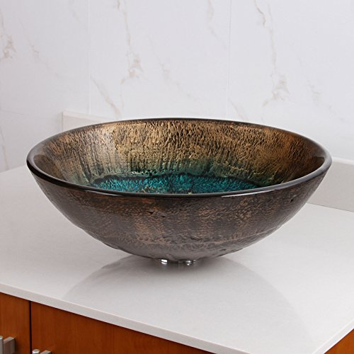 well-wreapped ELITE Volcanic Pattern Tempered Glass Bathroom Vessel Sink & Brushed Nickel Faucet Combo