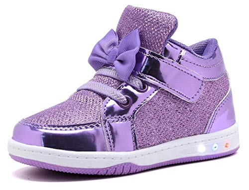 YILAN YL313 Toddler Glitter Shoes Girl's Flashing Sneakers With Cute Bowknot PUR-10 -