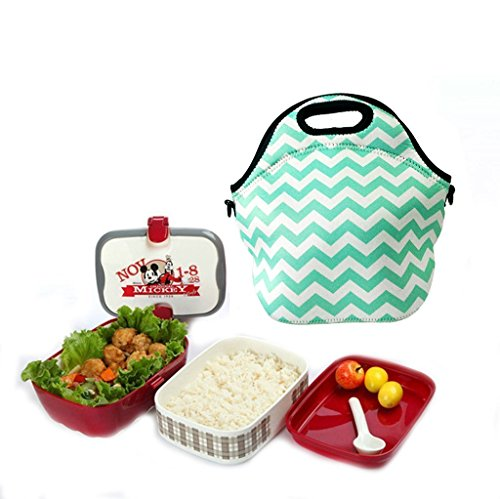 Amerzam Neoprene Lunch Bags/Lunch Boxes, Waterproof Outdoor Travel Picnic Lunch Box Bag Tote with Zipper and Adjustable Crossbody Strap (Light Blue Lunch bag+Water Bottle Tote) by Amerzam (Image #4)