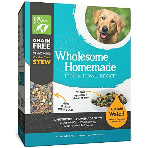 Only Natural Pet Wholesome Homemade Stew Dehydrated Dog Food - Human Grade Formula That Contains Real Wholesome Nutrition, Low Glycemic, Non-GMO - Fish & Fowl 6 lb Box (Makes 18 lbs of Food)